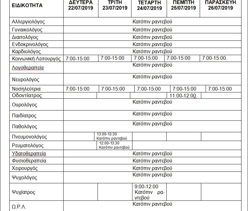 ΕΒΔΟΜΑΔΙΑΙΟ ΠΡΟΓΡΑΜΜΑ ΛΕΙΤΟΥΡΓΙΑΣ ΔΗΜΟΤΙΚΟΥ ΙΑΤΡΕΙΟΥ ΒΕΡΟΙΑΣ 22 26/07/2019