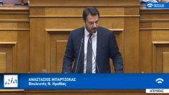 Ο Τάσος Μπαρτζώκας εισηγητής της κυβερνητικής πλειοψηφίας στο νομοσχέδιο για την διαφύλαξη της πολιτιστικής κληρονομιάς