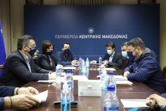 Σύσκεψη του Περιφερειάρχη Κεντρικής Μακεδονίας Απόστολου Τζιτζικώστα με τον Υφυπουργό Πολιτικής Προστασίας Νίκο Χαρδαλιά
