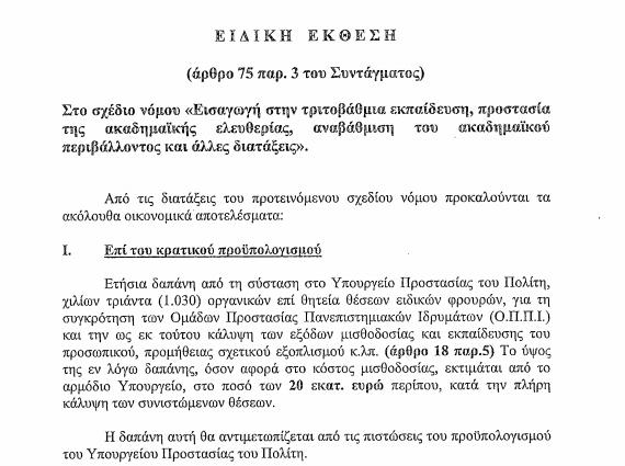 Αποκαλυπτικό: 20 εκατομμύρια ευρώ περίπου για την ετήσια μισθοδοσία των 1.030 ειδικών φρουρών για τα ΑΕΙ!