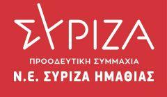 Συλλυπητήριο μήνυμα της Ν.Ε ΣΥΡΙΖΑ Π.Σ Ημαθίας