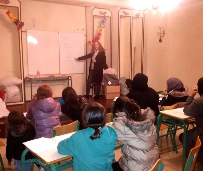 Μαθήματα Ελληνικής Γλώσσας στους πρόσφυγες στην Αγ. Βαρβάρα Ημαθίας από καθηγητές του 3ου Γενικού Λυκείου Βέροιας